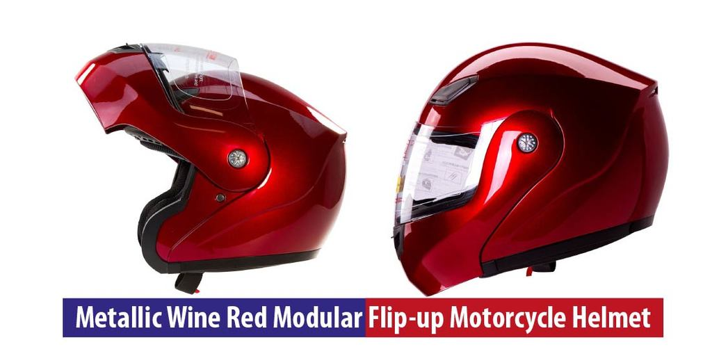 Metallic Wine Red Modular Flip-up Motorcycle Helmet User Guide