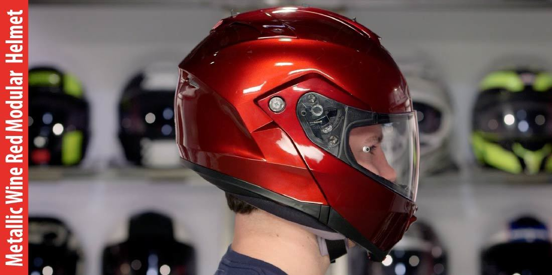 Metallic Wine Red Modular Flip-up Motorcycle Helmet